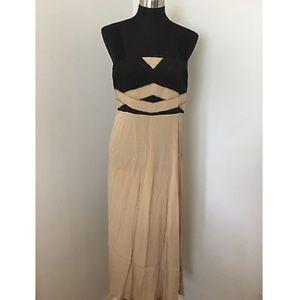 Kensie Maxi Dress Black Beige Empire Waist Size XL